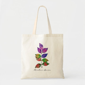 Watercolor Rainbow Leaves Tote Bag