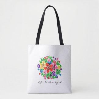 Watercolor Rainbow Leaves Tote Bag
