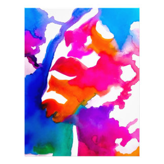 Watercolor Rainbow Painted Portrait Colorful Letterhead