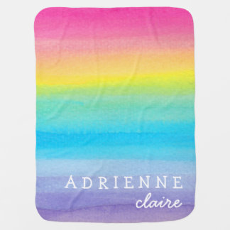 Watercolor Rainbow Personalized Baby Blanket