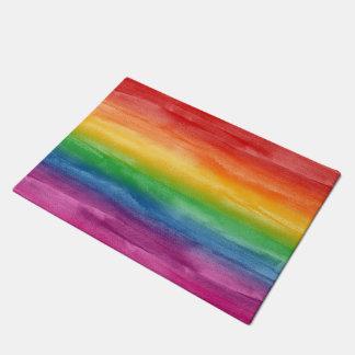 Watercolor Rainbow Stripes Doormat