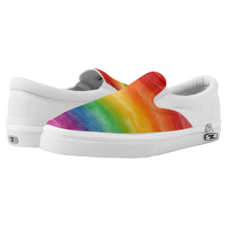 Watercolor Rainbow Stripes Slip-On Sneakers