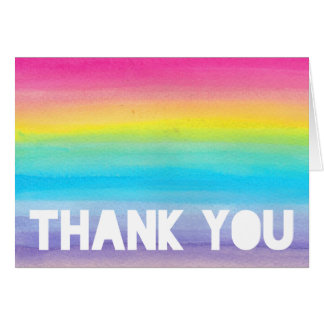 Watercolor Rainbow Thank You Card