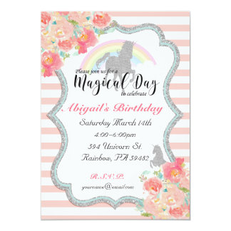 Watercolor Rainbow Unicorn Birthday Invitation