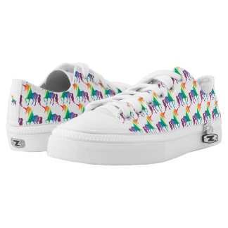 Watercolor Rainbow Unicorn Pattern Trendy Stylish Low-Top Sneakers