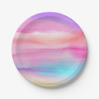Watercolor Rainbows - All Options 7 Inch Paper Plate