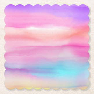 Watercolor Rainbows - All Options Paper Coaster
