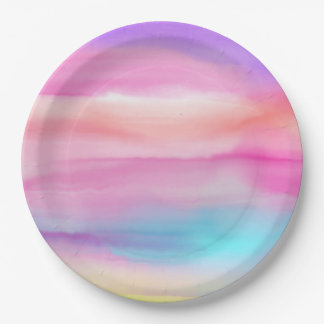 Watercolor Rainbows - All Options Paper Plate