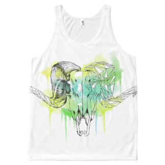 Watercolor Ram skull