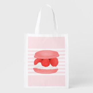 Watercolor Raspberry Cream Macaron Reusable Tote Grocery Bags