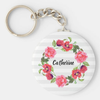 Watercolor Red and Pink Flowers Wreath Circle Keychain