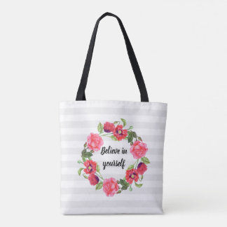 Watercolor Red and Pink Flowers Wreath Circle Tote Bag