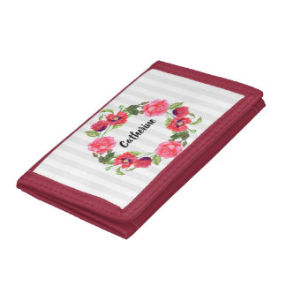 Watercolor Red and Pink Flowers Wreath Circle Tri-fold Wallet