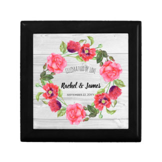 Watercolor Red and Pink Flowers Wreath Design Gift Box