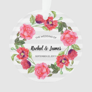 Watercolor Red and Pink Flowers Wreath Design Ornament