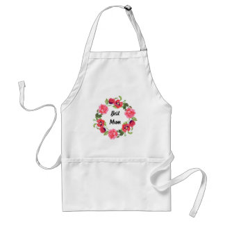 Watercolor Red and Pink Flowers Wreath Design Standard Apron