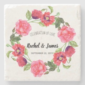 Watercolor Red and Pink Flowers Wreath Design Stone Coaster