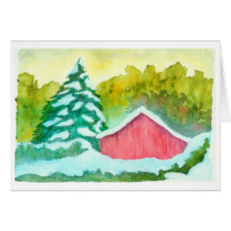 Watercolor Red Barn in Winter Snow Evergreen Trees Card