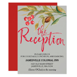 Watercolor Red Berries Boho Wedding Reception Card