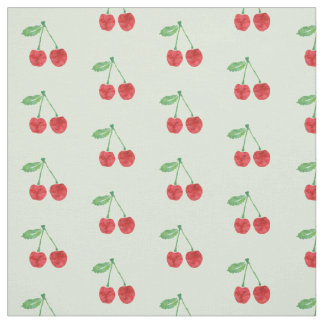 Watercolor Red Cherries on Pale Spring Green Fabric