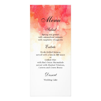 Watercolor red dinner menu. Coral menu party