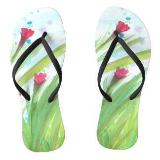Watercolor Red Floral Flip Flops