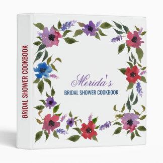 Watercolor Red Flowers Bridal Shower Cookbook Vinyl Binder
