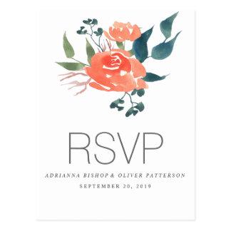 Watercolor Red Flowers Wedding RSVP Postcard