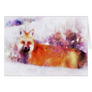 Watercolor Red Fox Resting Card