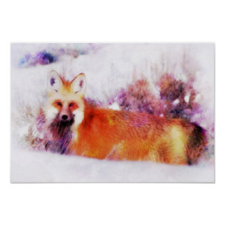 Watercolor Red Fox Resting Poster