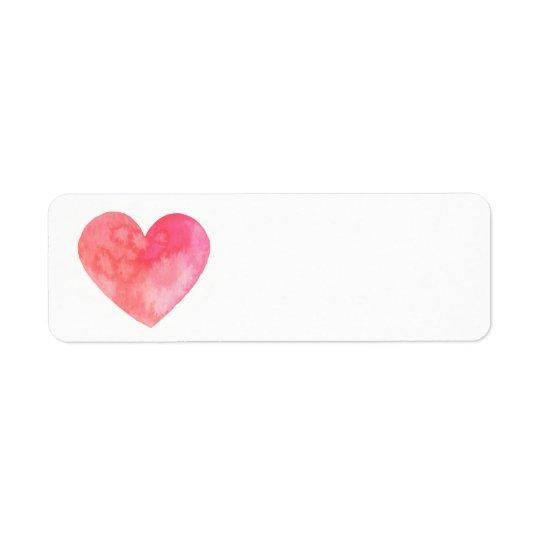 watercolor red heart return address label