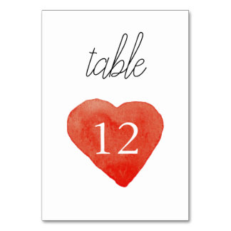 Watercolor Red Heart Wedding Table Number Card