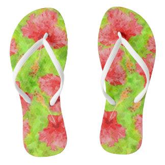 Watercolor Red Hibiscus Tropical Aloha Botanical Flip Flops