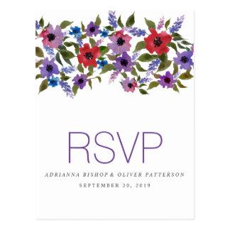 Watercolor Red Lavender Flowers Wedding RSVP Postcard