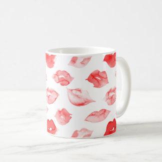 Watercolor red lips pattern makeup branding coffee mug