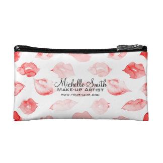Watercolor red lips pattern makeup branding cosmetic bags
