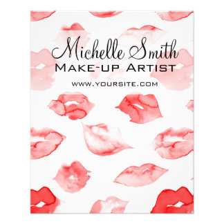 Watercolor red lips pattern makeup branding flyer