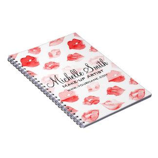 Watercolor red lips pattern makeup branding spiral notebook