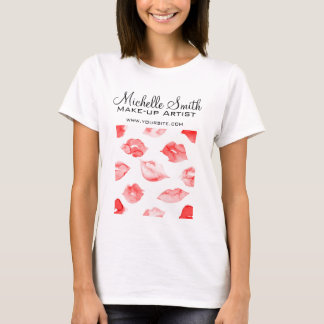 Watercolor red lips pattern makeup branding T-Shirt