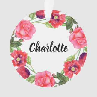 Watercolor Red & Pink Flowers Circle Wreath Design Ornament