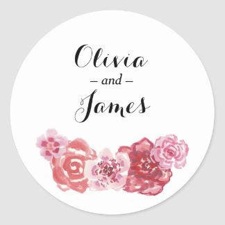 Watercolor Red Pink Rose Frame Round Sticker