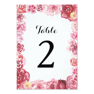 Watercolor Red Pink Rose Frame Table Number Card