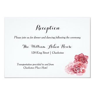 Watercolor Red Pink Rose Reception Card