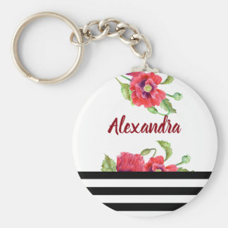 Watercolor Red Poppies Botanical Floral Art Keychain