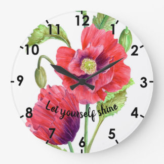Watercolor Red Poppies Botanical Illustration Large Clock