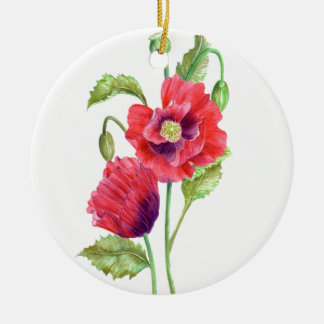 Watercolor Red Poppies Floral Art Ceramic Ornament