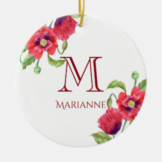 Watercolor Red Poppies Floral Art Monogram Ceramic Ornament