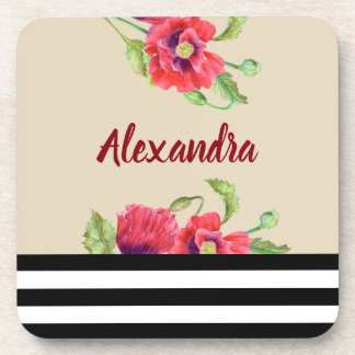 Watercolor Red Poppies Floral Illustration Coaster