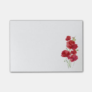 Watercolor Red Poppies Flowers Hummingbird Bird Fl Post-it Notes