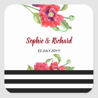 Watercolor Red Poppies Wild Floral Wedding Square Sticker